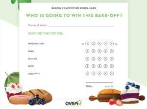 Great British Bake Off baking competition scorecard