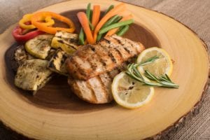 Lemon chicken with steamed Veg