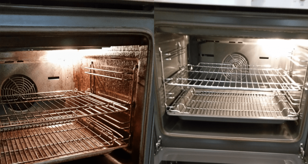 Oven Clean Before and After