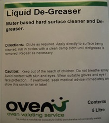 Water-based oven cleaner & degreaser