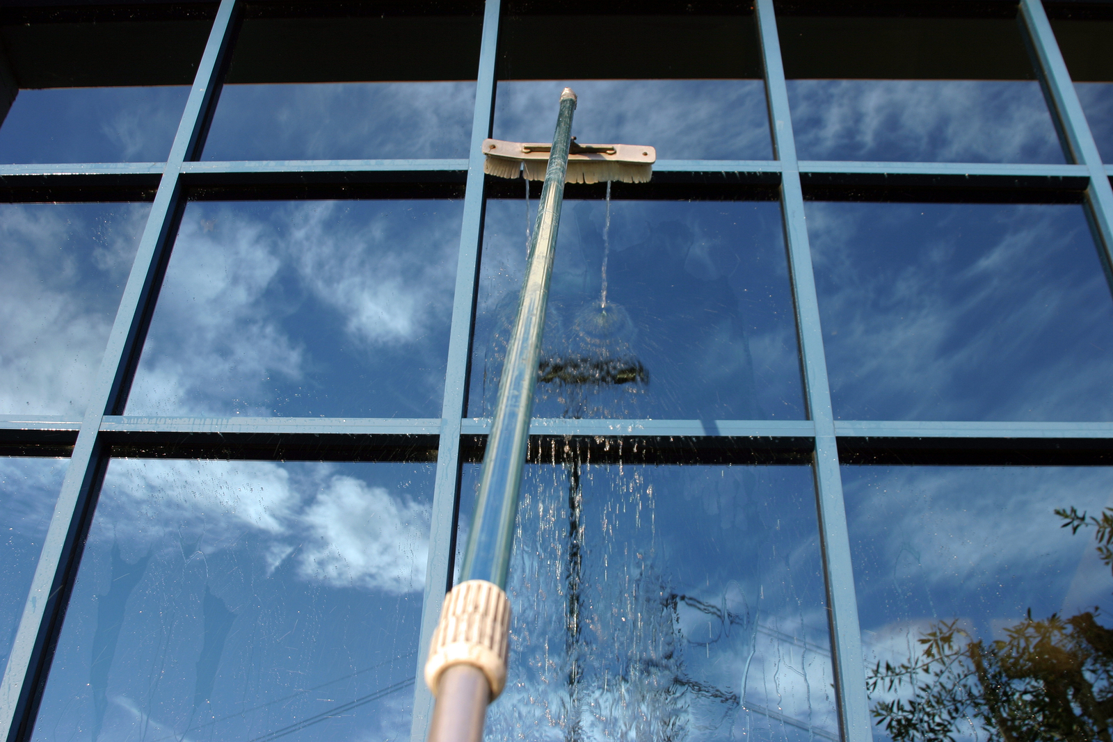 Window Washing with Deionized water and extension pole. For a Sp